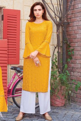Gorgeous Yellow Rayon Mirror Work Kurti With Palazzo