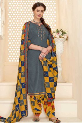 Gorgeous Grey Designer Embroidered Patiala Dress Pure Pashmina