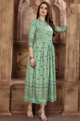 Gorgeous Pista Green Color Rayon Designer Kurti