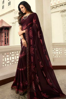 Gorgeous Wine Color Daily Wear Saree Georgette Fabric