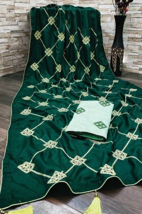 Gota Patti Workie Dola Silk Green Color Latest Saree