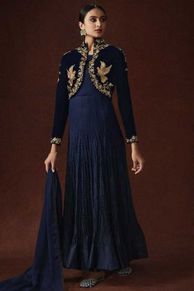 Gown Style Anarkali Suit In Satin Georgette Banglori Silk Navy Blue