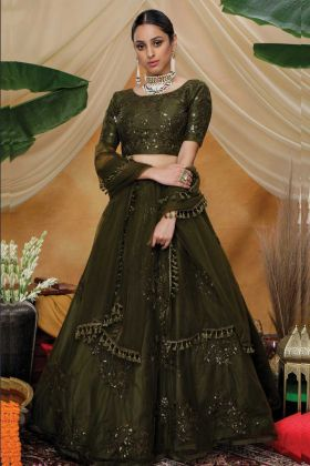 Graceful Olive Green Net Party Wear Lehenga Choli