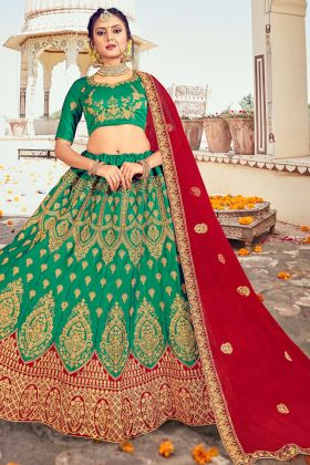 Gracefully Designer Green Color Embroidered Silk Lehenga For Marriage