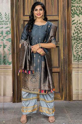 Gray Color Banarasi Jacquard Pant Style Dress With Embroidery Work