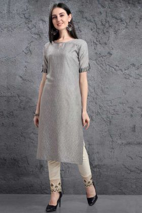 Gray Color Pure Organic Kurti With Pant In Silver Weaving Work