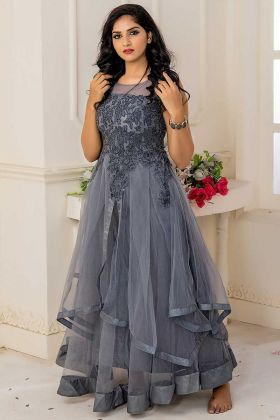 Gray Color Soft Net Party Wear Gown With Embroidery Work