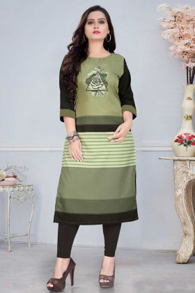 Green Black Casual Office Wear Readymade Kurti