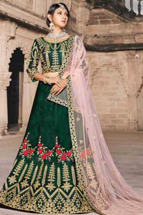 Green Color Beautiful Look Bridal Wedding Pure Taffeta Lehenga Choli