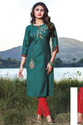 Green Color Casual Wear Readymade Kurti With Bottom