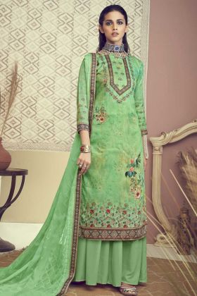 Green Color Designer Cotton Salwar Suit
