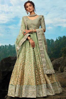 Green Color Dori Sequin Work Wedding lehenga Choli Online