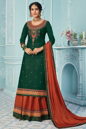 Green Color Heavy Designer Zam Silk Lehenga Suit Collection