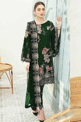 Green Color Heavy Georgette Pakistani Style Party Wear Suit
