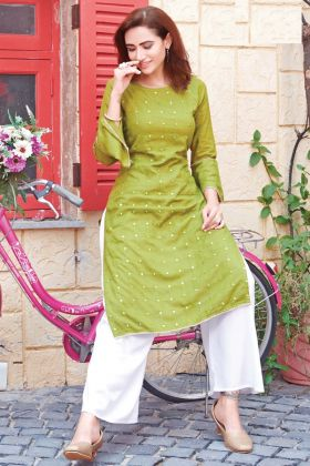 Green Color Heavy Rayon Kurti With Mirror Work