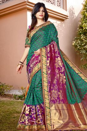 Green Color Latest Silk Sarees With Pink Border