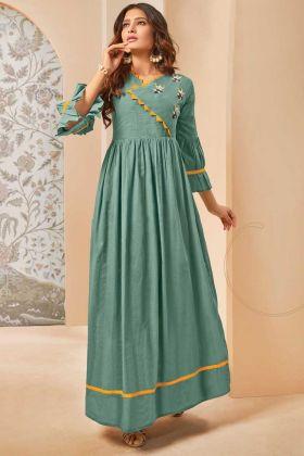 Green Color Mal Cotton Stylish Readymade Kurti