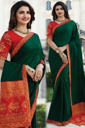 Green Color New Launching Sana Silk Designer Saree