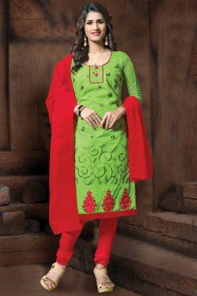 Green Color Office Wear Modal Silk Straight Suit