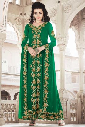 Green Color Pant Style Suit Georgette Fabric