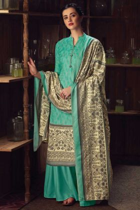 Green Color Party Wear Pure Wool Pashmina Plazzo Suit