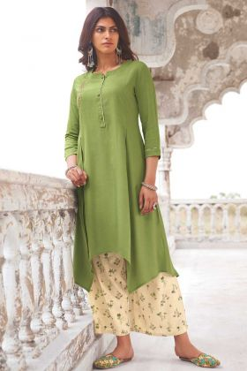 Green Color Party Wear Readymade Super Fine Modal Khadi Kurti