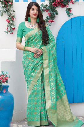 Green Color Party Wear Weaving With Jacquard Saree
