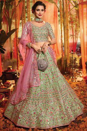 Green Color Pure Organza Bridal Wear Lehenga Choli For Wedding
