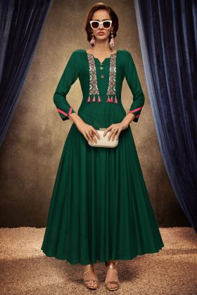 Green Color Readymade Gown With Rayon Fabric
