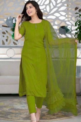 Green color salwar Suit With Ruffle Dupatta