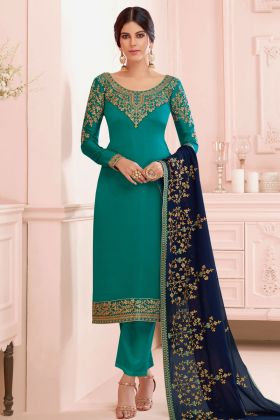 Green Color Satin Georgette Pakistani Style Pant Salwar Suit