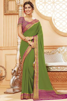 Green Color Satin Silk Lace Border Saree