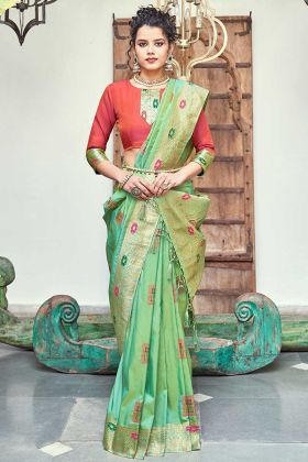 Green Color Silk Wedding Banarasi Saree