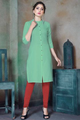 Green Cotton Printed Plain Readymade kurti