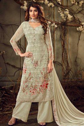 Green Georgette Heavy Embroidered Pakistani Designer Plazo