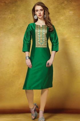 Green Kurti With Taffeta Art Silk Fabric