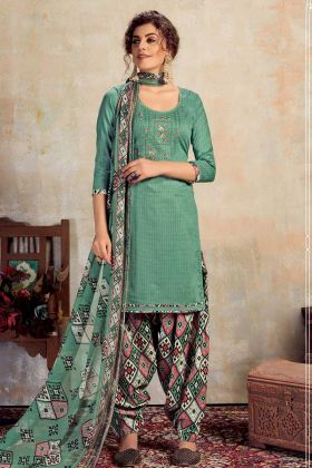 Green Pure Jam Cotton Patiala Suit In Embroidery Work