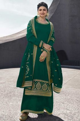 Green Satin Georgette Palazzo Suits Party wear