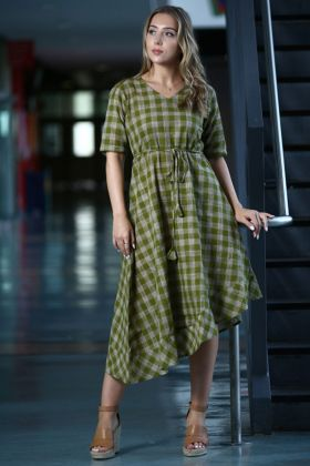 Green and Grey Color Khadi Kurti With Printed Work