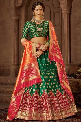 Green and Maroon Color Banarasi Silk Lehenga Choli With Jacquard Work
