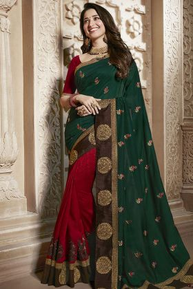 Green and Red Silk Wedding Saree