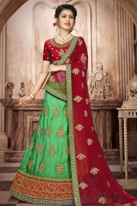 Green Art Silk A- Line Lehenga Choli