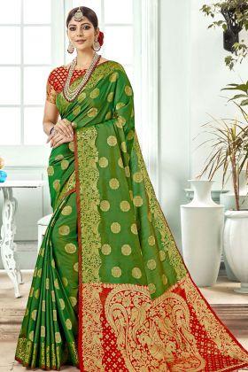 Green Banarasi Art Silk Festive Saree