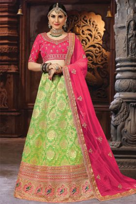 Green  Banarasi Art Silk Lehenga Choli