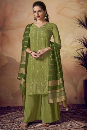 Green Banarasi Viscose Palazzo Suit In Embroidered Work