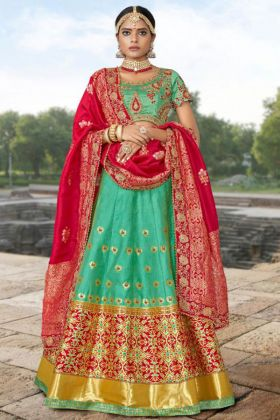 Green Color Banarasi Jacquard Lehenga Choli With Embroidery Work