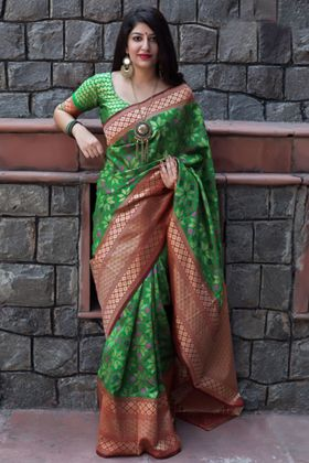 Green Color Banarasi Patola Silk Traditional Saree