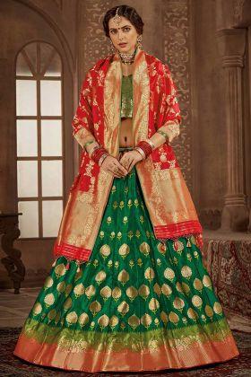 Green Color Banarasi Silk Lehenga Choli With Heavy Weaving Work