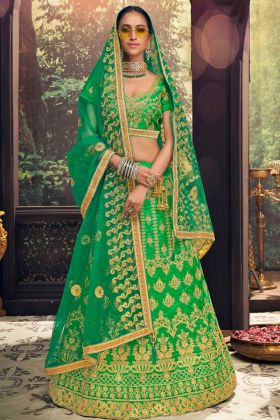 Green Color Banglori Silk Wedding Lehenga Choli With Heavy Zari Embroidery Work