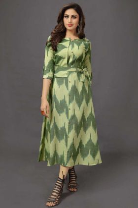 Green Color Beautiful Cotton Formal Kurti